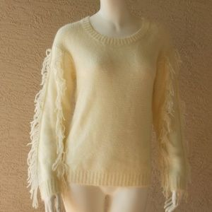 Fringe Trim Relaxed Fit Sweater